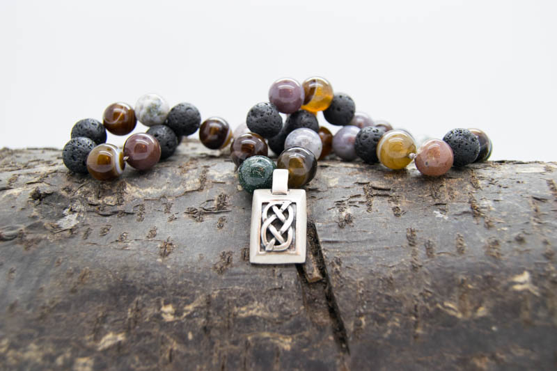 54 Bead Mala With Shannon Knot Volcanic Stone, Agate & Silver Shannon Knot