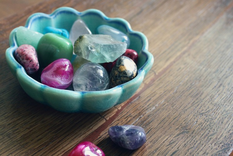 crystal in bowls