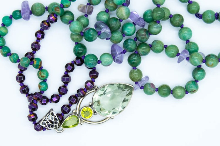 Handmade Mystic Forest Necklace With Peridot, Prasiolite, Ruby Fuschite, Haematite, Ametrine & Turquoise Potatoe