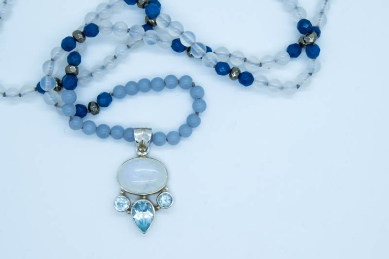 Handmade White Spirit Necklace With, Agate, Pyrite, Topaz & Angelite