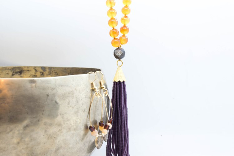 Sacral Chakra Mala Born Of The Pink Full Moon With Agate & Mica with FREE earrings