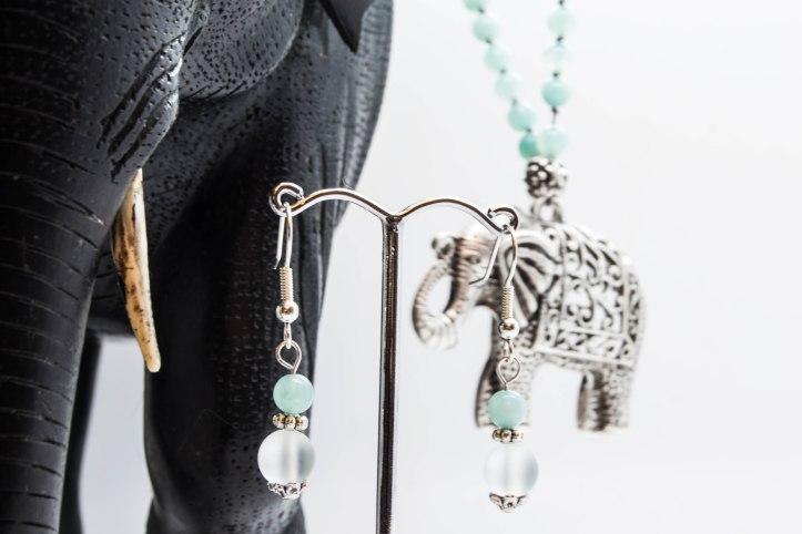 Elephant Mala With Amazonite & Sea Glass & Matching Earrings - Heart & Throat Chakra