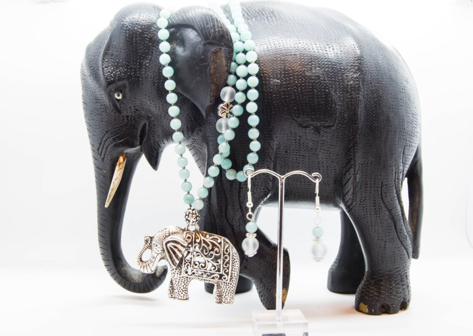 Elephant Mala With Amazonite & Sea Glass & Matching Earrings - Heart & Throat Chakra