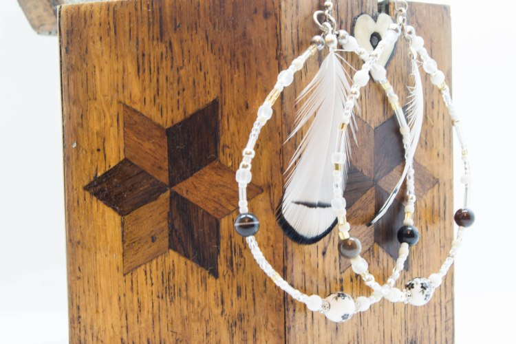 White Spirit Boho Feather Earrings