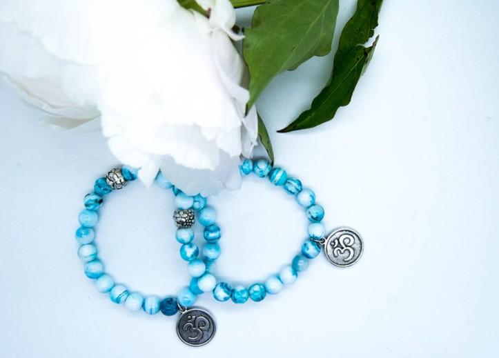 Balancing Om Hemimorphite bracelet, Third Eye, Brow Chakra, Ajna
