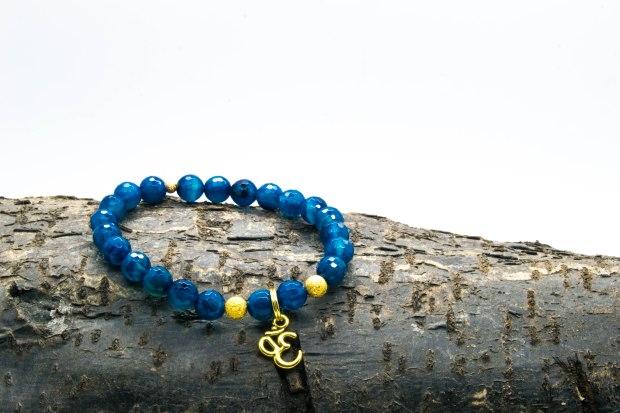 Blue Agate Om bracelet 'Shanti Range' – Throat & Solar Plexus Chakras