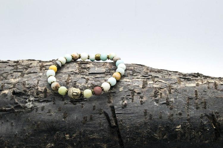 Amazonite Buddha Bracelet 'Shanti Range' – Heart & Throat Chakras