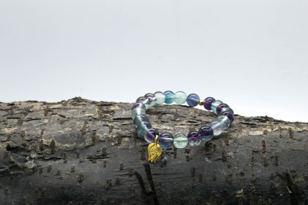 Rainbow Flourite Pomegranate Charm Bracelet – 3rd Eye, Brow & Crown Chakras