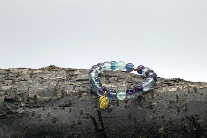 Rainbow Flourite Pomegranate Charm Bracelet – 3rd Eye, Brow & Crown Chakras