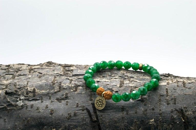 Aventurine Rudraksha Lotus Bracelet 'Shanti Range – Heart Chakra