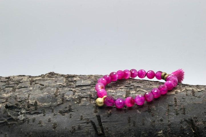 Pink Agate Bell Bracelet With Tassle 'Shanti Range' – Solar Plexus & Heart Chakra