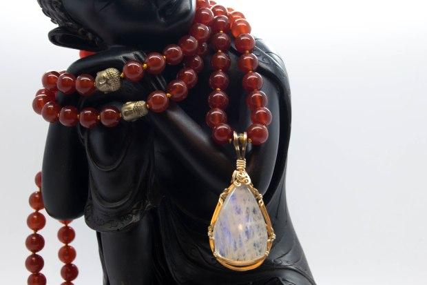 Rainbow Moonstone & Carnelian Buddha Mala ~ Custom Piece
