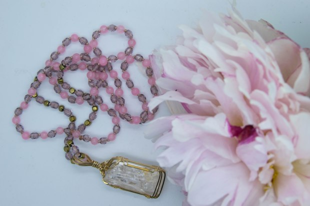 Danburite & Rose Quartz Pretty In Pink Necklace ~ Commission Piece