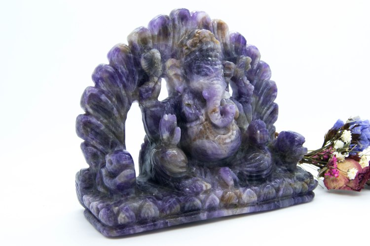 Stunning Intricate Ganesh, Hand Carved In Amethyst