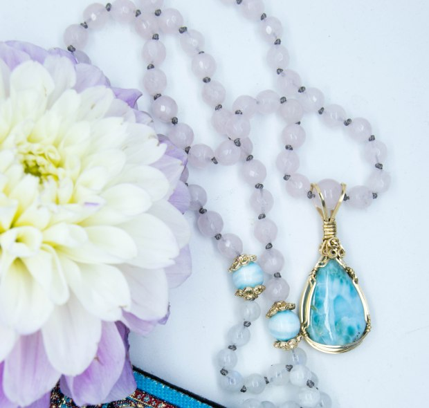 "Larimar ""The Blue stone of Atlantis"" Mala With Moonstone, Rose Quartz & Hemimorphite"