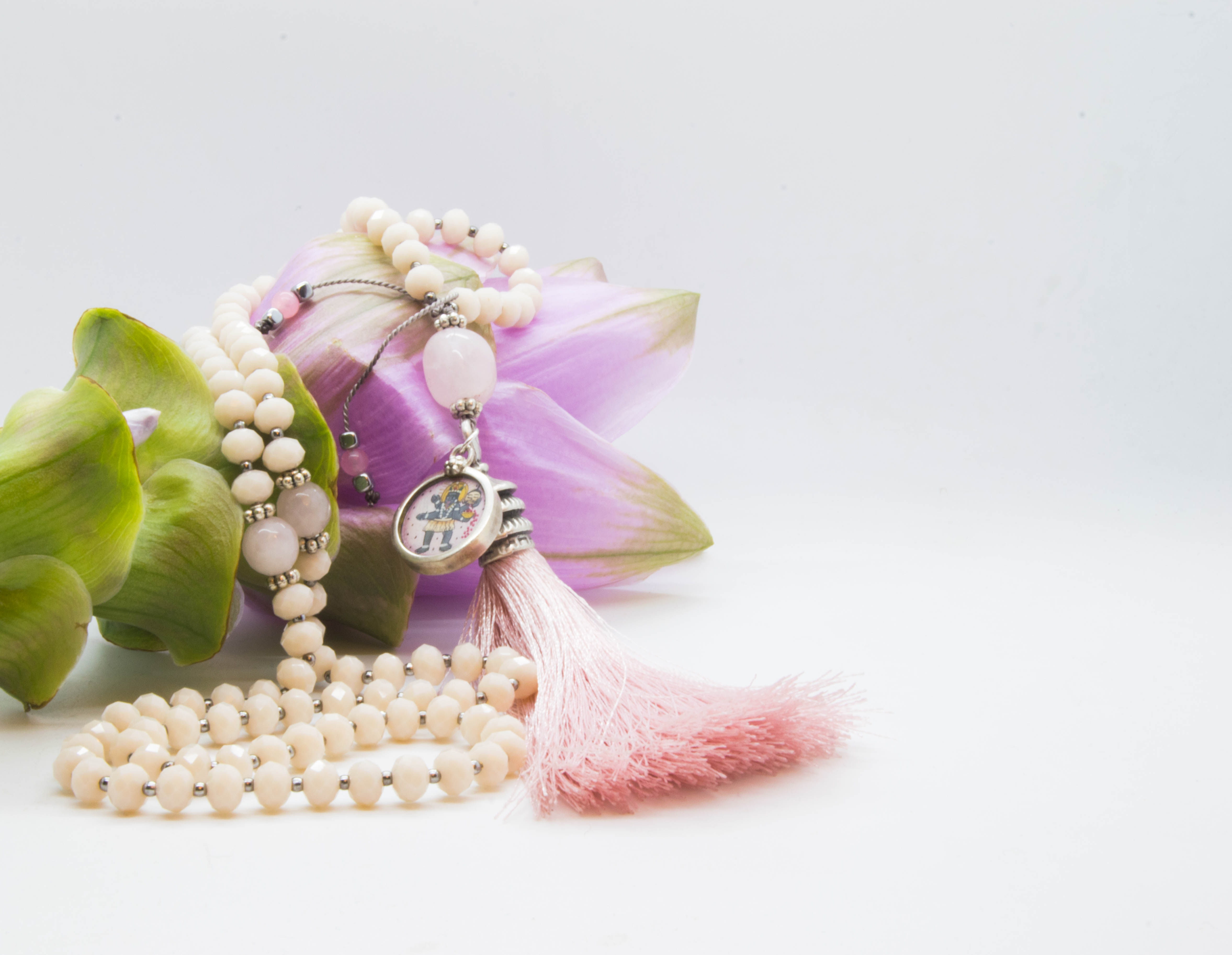 Hindu Deity Kali Mala With Seashell Coloured Faceted Glass Beads, Rose Quartz, Hematite & Pink Boho Tassle