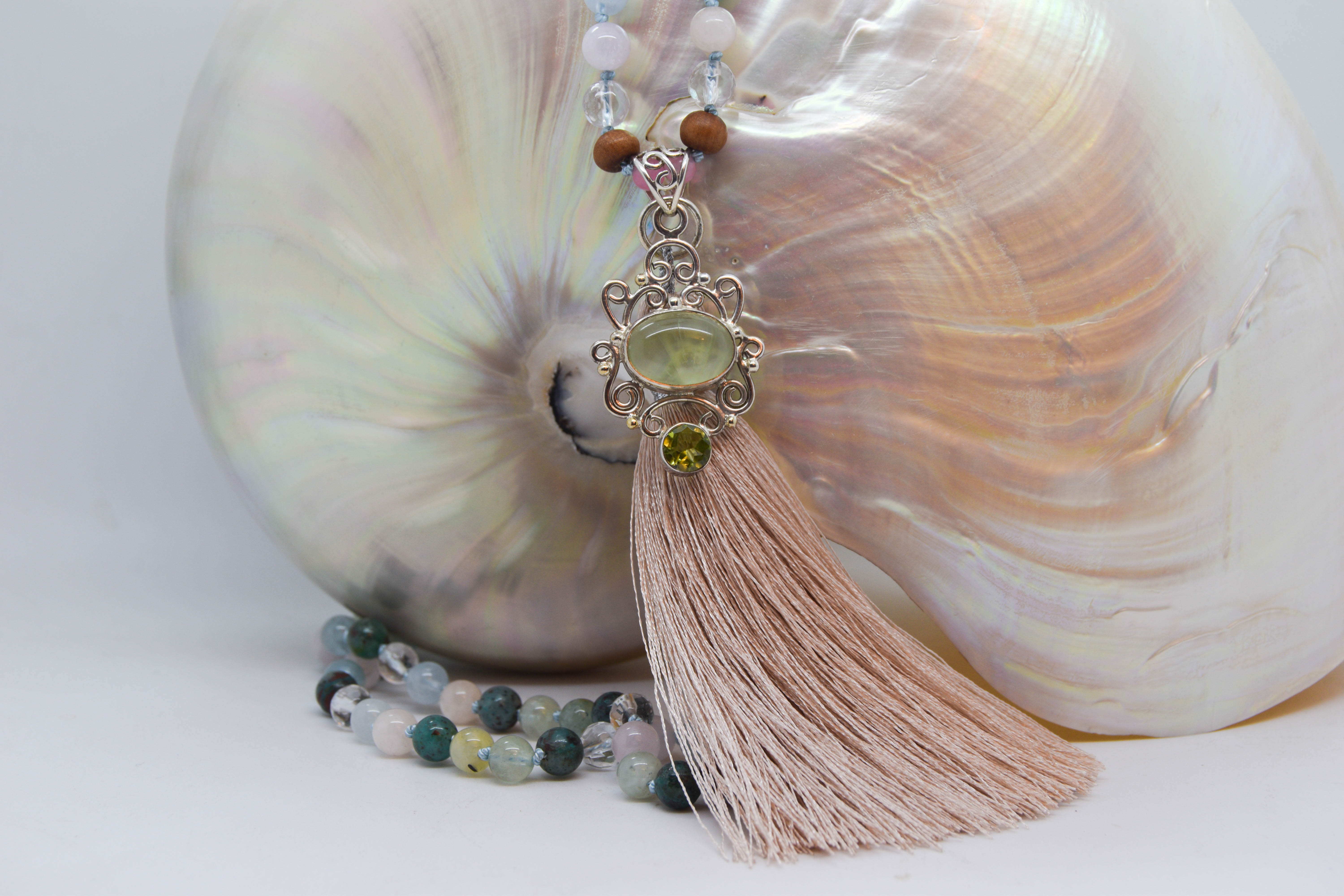 Purity of Mind Mala With Peridot, Prasiolite, Cuprite, Morganite, Crystal Quartz, Wood & Rose Quartz