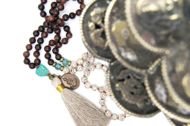 Purification Mala With Lotus Seeds, Turquoise, Cuprite, Red Rosewood & Tibetan Amulet