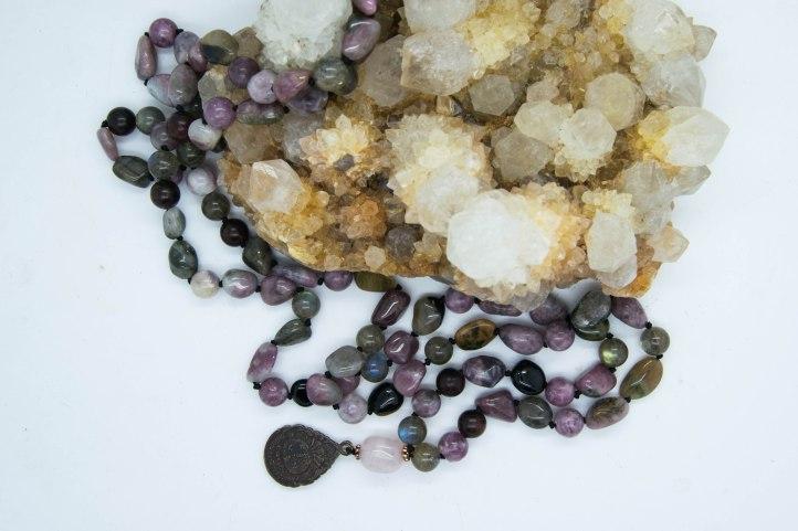 Transition & Transformation Shamanic Mala With Lepidolite, Labradorite, Tourmaline with Thai Buddha Amulet