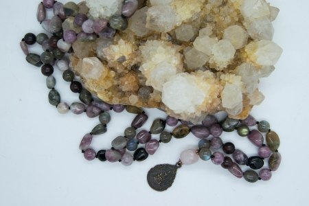 Transition & Transformation Shamanic Mala With Lepidolite, Labradorite, Tourmaline with Thai Buddha Amulet