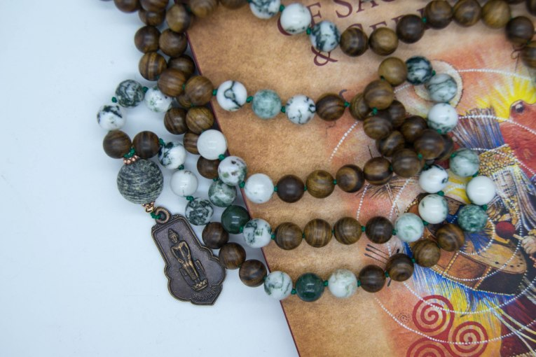 Forest Mala With Rosewood, Tree Agate, Silverline Jasper & Authentic Blessed Old Thai Buddha Amulet From Temples
