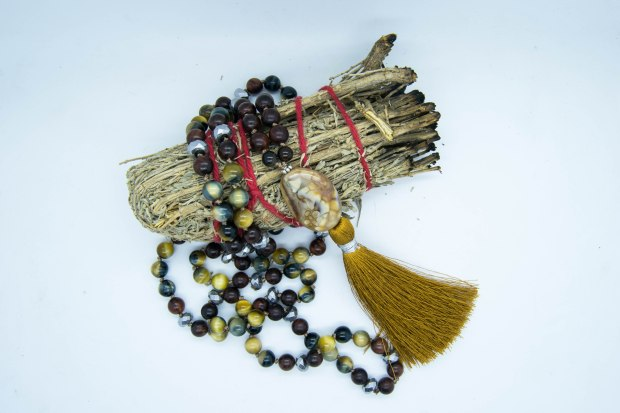Mother Nature Mala With Blue Tigers Eye, Agate, Hematite & Rosewood.