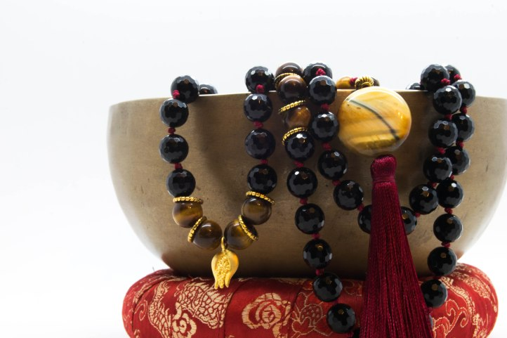 Yoake ( 夜明け ) Mala With Onyx, Tigers Eye, Agate & Pomegranate Symbology ~ Grounding & Protective
