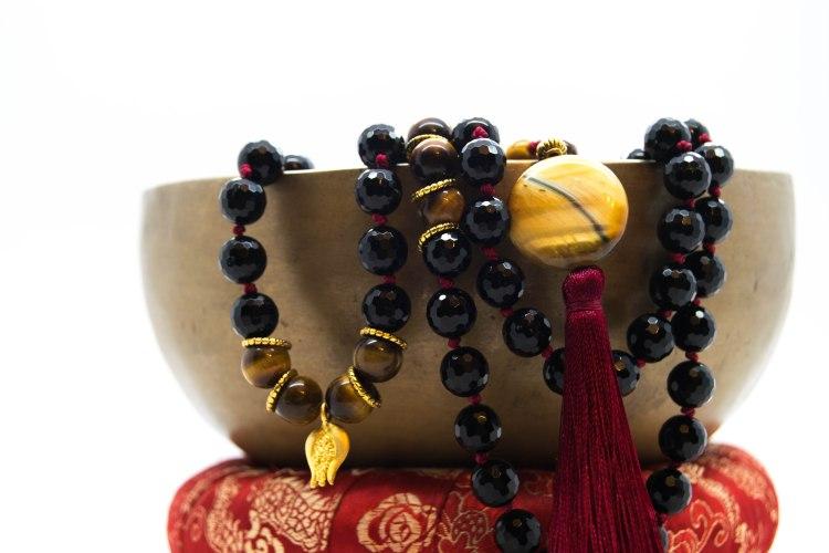 Yoake ( 夜明け ) Mala With Onyx, Tigers Eye, Agate & Pomegranate Symbology ~ Grounding & Protective