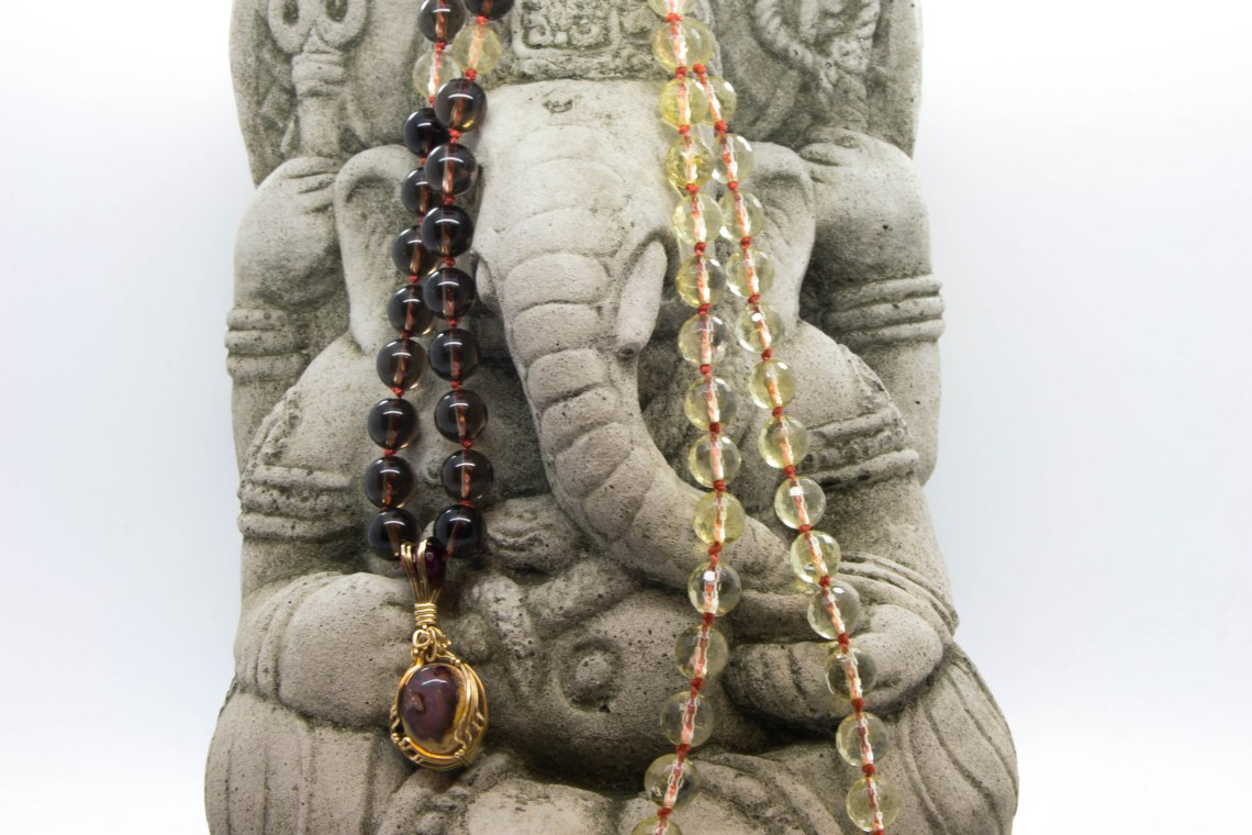 Fire Agate Mala With Lemon & Smokey Quartz