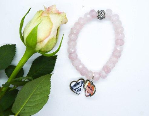 Sai Baba Rose Quartz Heart Locket Bracelet