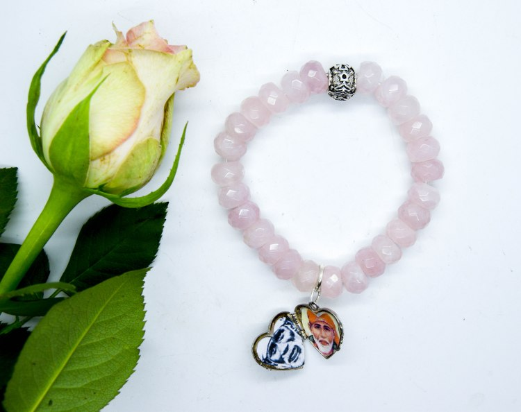 Sai Baba Rose Quartz Heart Locket Bracelet