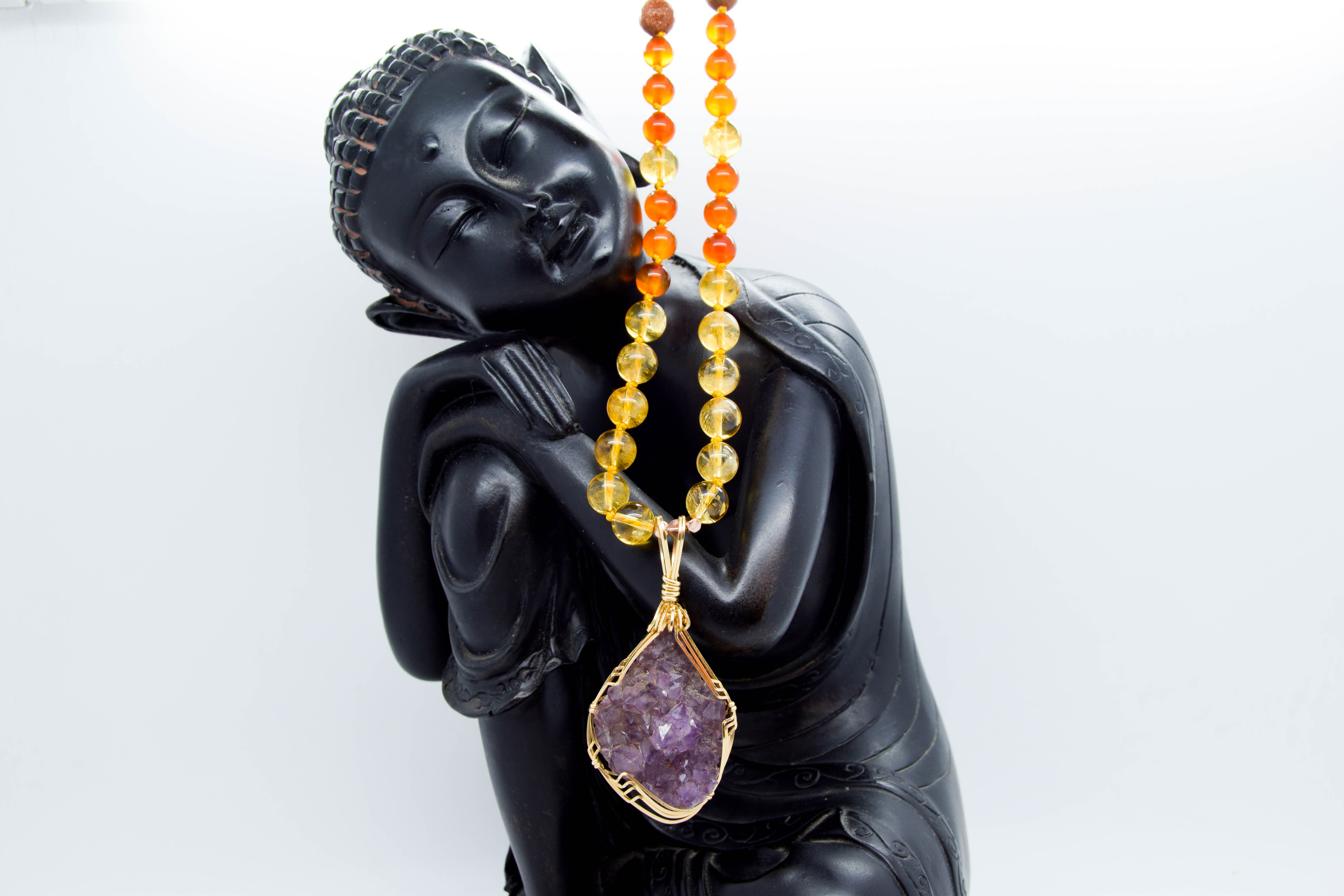 Amethyst Mala, Some Sacral, Solar Plexus & Crown Chakra Love
