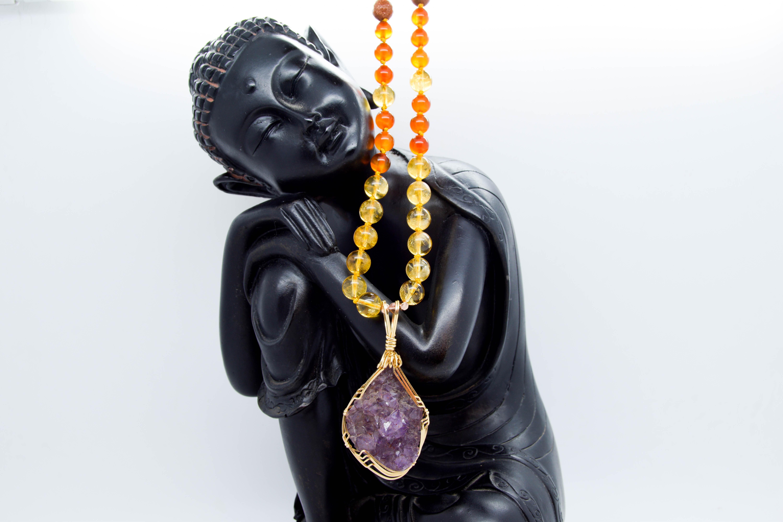 Amethyst Mala, Some Sacral, Solar Plexus & Crown Chakra Love