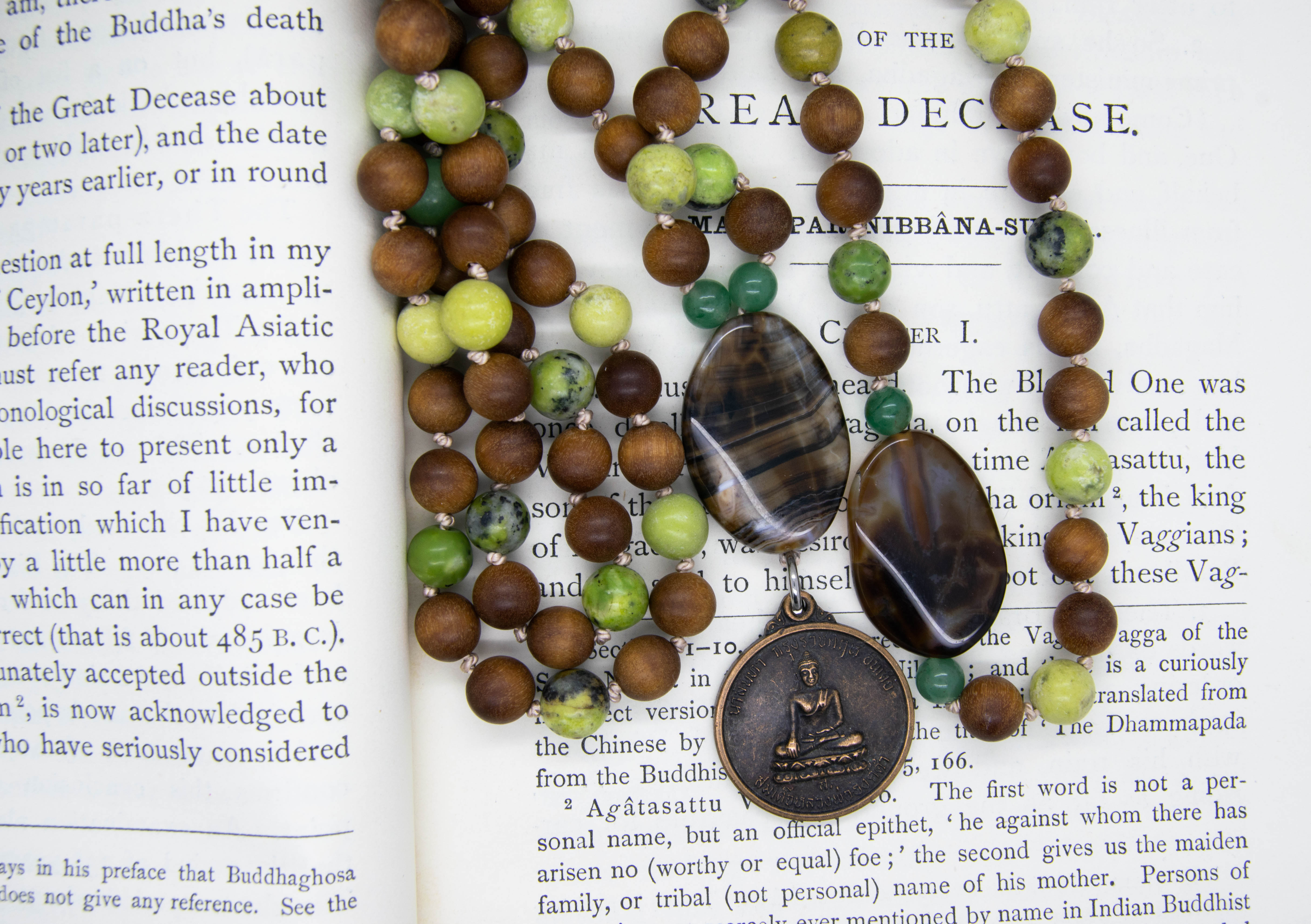 Buddha Amulet 108 Mala With Rosewood & Serpentine
